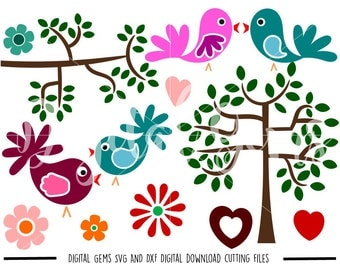 Birds, Trees, Flowers svg / dxf / eps / png files. Digital download. Compatible with Cricut and Silhouette machines. Small commercial use ok