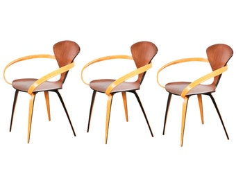 norman cherner molded plywood arm chair for plycraft