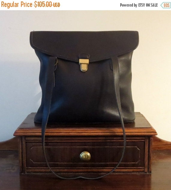 Football Days Sale Coach Branson Bag In Black Leather- Duffel Bucket Tote Style Bag- Style No. 9915- Made In United States- EUC