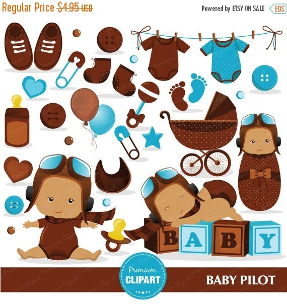 70% OFF SALE Pilot baby shower clipart commercial use, baby pilot ...