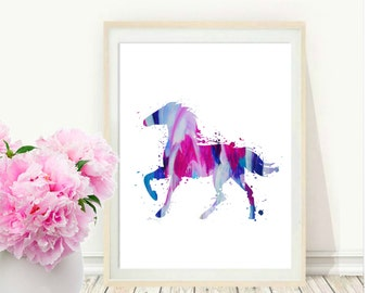 Horse Print, Printable Wall Art, Watercolor Horse, Pink and blue Wall Art, Modern Wall Print  Instant Download, Wall Decor