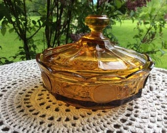 Vintage Fostoria Coin Glass Amber Covered Candy Nut Dish