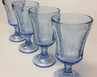 """4- Madrid Blue Recollections Indiana Glass 11 oz. Goblets 6 5/8"""" tall reproduced from Madrid Pattern by Federal Glass"""