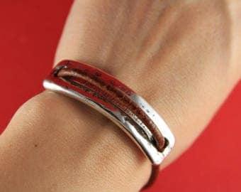 9/7 MADE in EUROPE zamak half bracelet, silver half bracelet, zamak connector (ABLZ131S)qty1