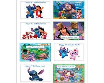 8 PERSONALIZED PRINTED Lilo and Stitch Stickers, Birthday Party Favors, Crafts, Rewards, Labels, Custom Made