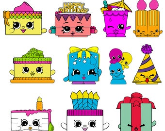Shopkins SVG Birthday Party Shopkins Clipart DXF Printable Shopkins Cut File Vector Cricut Silhouette Cameo