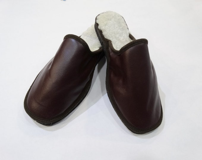 Men Leather Slippers,Dark Brown Slippers,Gift for Him F447