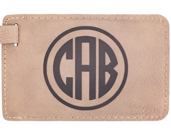 Personalized Leather Luggage Tag with Monogram, Laser Engraved, Travel Accessory, Customized for Wedding, Birthday, Christmas, Father's Day