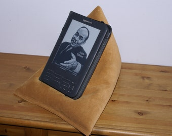 Edge Beanbags Limited Edition Genuine Leather Techbed - A suede leather Kindle cushion, iPad pillow, tablet or book beanbag stand