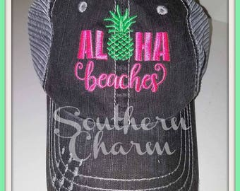 "Embroideried Distressed Trucker hat ""Aloha Beaches"""