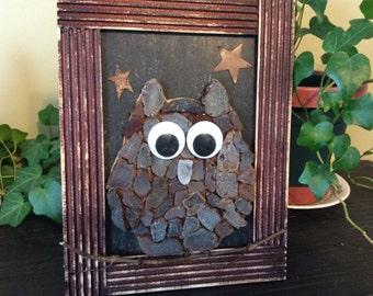 Framed sea glass owl
