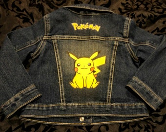 Childrens Pokemon Jacket-Custom Made Picachu Jean Jacket-Boys or Girls Denim Jacket-Cartoon Jacket-Blue Denim New
