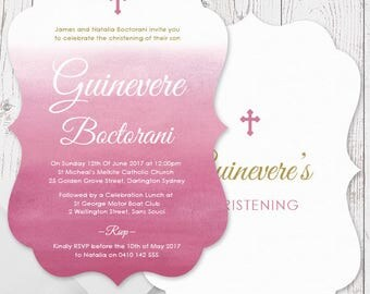 Pink and Gold Watercolour Girl Baptism Christening Invitations | A5 Die Cut Scallop Shape, Free Colour Changes | Peach Perfect Australia