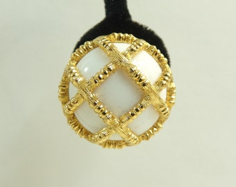 60s monet earrings, chunky gold & ivory bauble earrings, 1960s mad men minimalist clip on vintage earrings, costume jewelry