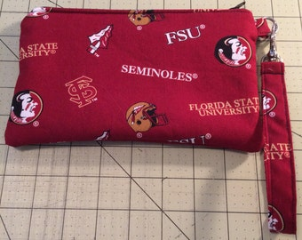 FSU Wristlet, zipper pouch, makeup bag, ready to ship