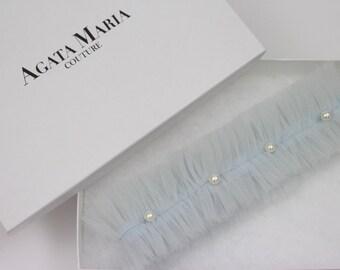 CHLOE   Something Blue, Tulle and Pearl Wedding Garter, Luxurious Bridal Gift, Pastel Blue Bridal Garter