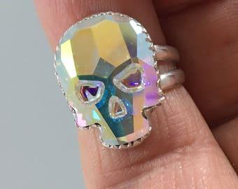 18 X 14mm Skull ring w/ Swarovski AB Crystal Sterling Silver
