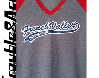 Glitter Baseball Mom Spirit Wear, Glitter French Valley Pony Baseball Women's Juniors V-Neck Raglan Shirt Baseball Tee FVBSA Spiritwear