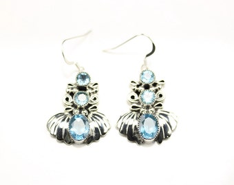Native American Indian Jewelry Handmade Sterling Silver Blue Topaz Dangle Earrings