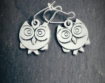 Cute Owl Silver Plated Drop Earrings