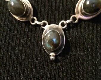 VINTAGE, Labradorite Necklace BEAUTIFUL 7 stone, Handmade, Hallmarked .925, Heavy