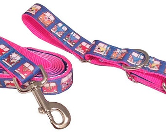 Volkswagen VW Magic Bus Dog Leash, Magic Bus Martingale Collar (Medium) Pink Blue Orange Yellow