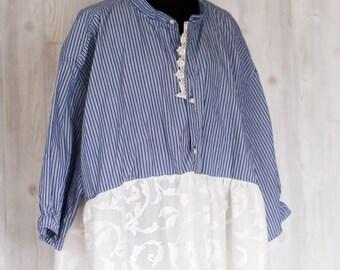 4XL Womens tunic dress Men's shirt upcycled Lace OOAK Eco friendly tunic Plus Size