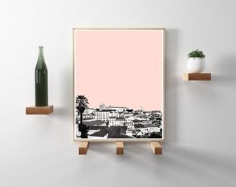 Lisbon, Portugal City Photography. Black and white travel, wanderlust photo, rose blush background. Modern, minimalist, scandinavian decor.