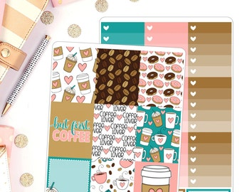 But first, Coffee Weekly Deluxe Planner Stickers Kit for use in Erin Condren Planner Stickers Mambi planner stickers