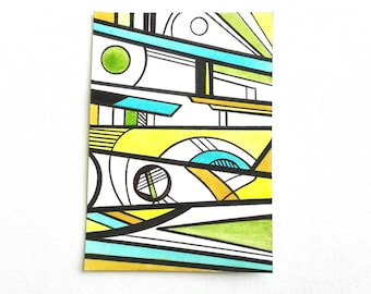 ACEO original ATC art card geometric abstract drawing ink multicolour - Up by Caerys Walsh