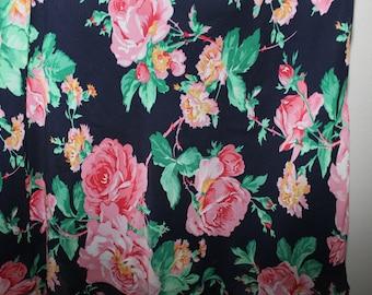 Vintage 90s Silk Pink Roses Skirt Vavy Blue Ralph Lauren Romantic Sz 6P Petite 3 Ruffle Tier