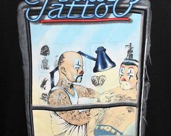 Vintage 90s Surfer Skater Joker Tattoo  T Shirt Clown Gang USA 46 Chest Artist