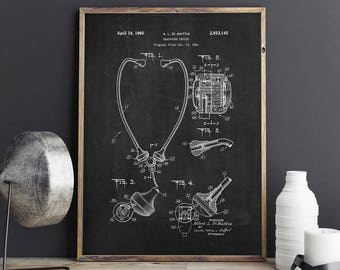 Stethoscope Patent Print, Headphones Patent, Medical Decor, Medical Art, Nurse Gift, Doctors Office Decor - DA0754