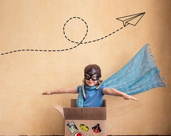 Paper Plane Wall Sticker - Origami Style Aeroplane - Fun Kids Vinyl Wall Decal