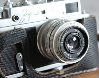 Vintage camera, Zorki 4, Soviet camera, collectible camera, made in USSR, leather case camera