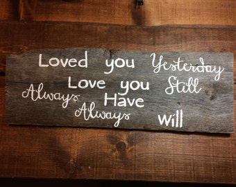 Distressed Loved You Yesterday Love You Still Always Have Always Will Sign