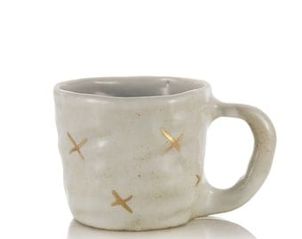 ceramic handmade mug gold crosses