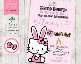Kitty Bunny Rabbit Woodland Party Invitation,Kitty Birthday Party Invitation, DIGITAL FILE Invitation printable,FREE Tags