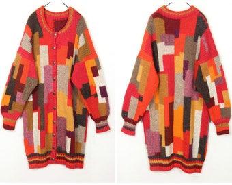 Handmade 80's vintage Rainbow color wool Cardigan Sweater coat