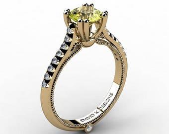 Classic Italian 14K Yellow Gold 1.0 Ct Yellow Topaz Diamond Engagement Ring R1130-14KYGDYT