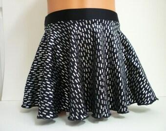 Dance Skirt - Black/Metallic Silver Nylon Lycra - Sizes: 2T, 3T, Girls 4 - 16, Adult XS - XL