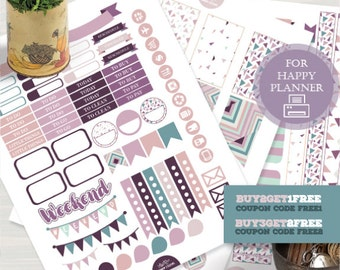 Happy Planner Stickers, Abstract Planner Stickers, Printable Planner Stickers, Lavander Stickers, Purple Stickers