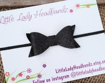 Glitter black bow hair clip sparkle glitter bow or black glitter bow headband - black toddler clip hair