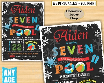 Pool Party Invitation Pool Bash Birthday Invitations Invite Girl Boy Swimming Water Slide Vintage Blue Red Green Winter Chalkboard Swim BDP5