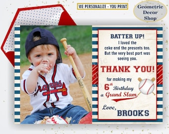 Baseball THANK YOU Card - PERSONALIZED with name and photo, Blue, Red, photograph, ball, baseball, sports,  THSP2