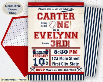 Baseball Birthday invitation Vintage Sports Invite 1st All star invitations One Ball red blue invites joint combined dual double twins DSP13
