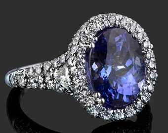 5.35 TCW Oval Cut Tanzanite Engagement Ring, Deep Blue Tanzanite Ring, Halo Engagement Ring, Tanzanite, 18k White Gold Ring