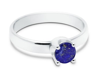 Lapis Lazuli Ring, 925 Sterling Silver. SIZE 6.25 (inner diameter 19mm), color navy blue, weight 2.2g, #44673