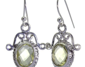 Lemon Quartz Earrings, 925 Sterling Silver, Unique only 1 piece available! color yellow, weight 3.3g, #40658