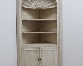 Vintage Custom Made Italian Distressed Shell Carved Corner Cabinet Hutch A